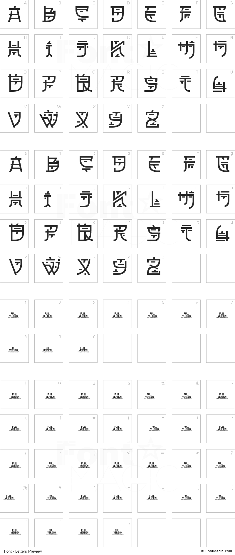 Zilap Oriental Font - All Latters Preview Chart