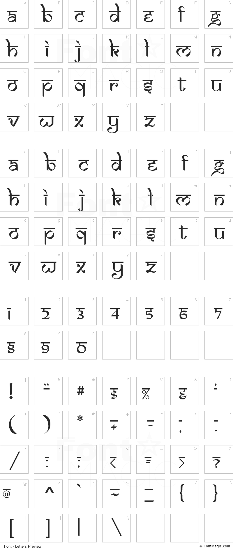 Samarkan Font - All Latters Preview Chart