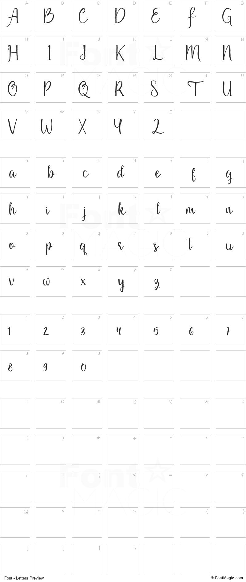 Firdaus Font - All Latters Preview Chart