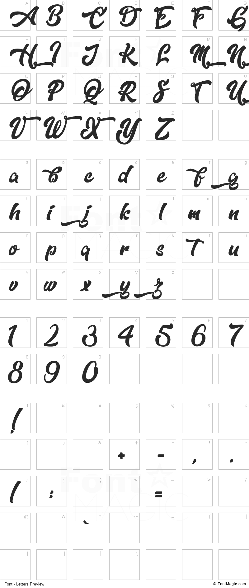 Dopestyle Font - All Latters Preview Chart