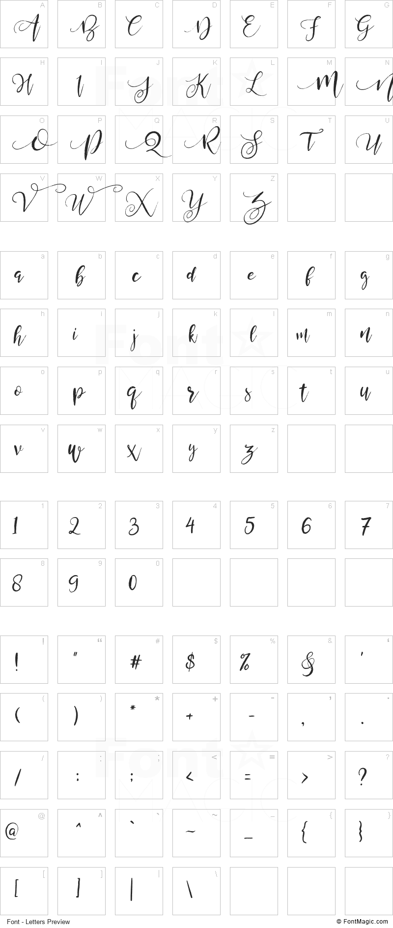 Valledofas Font - All Latters Preview Chart