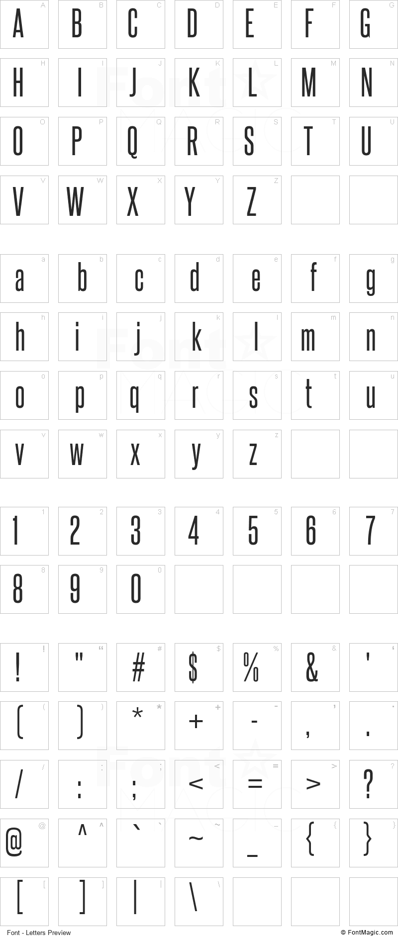 Steelfish Font - All Latters Preview Chart