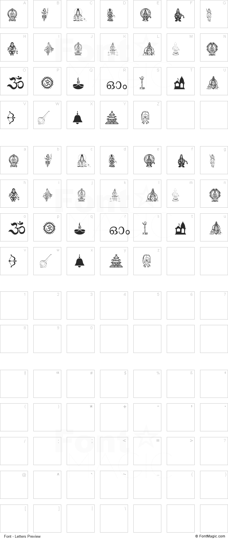 Ayyappa Swamy Font - All Latters Preview Chart