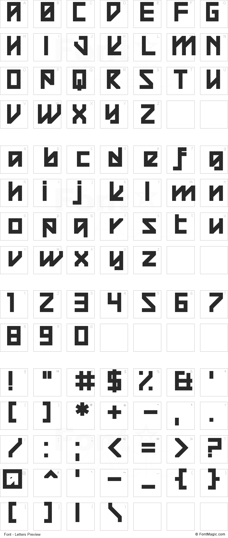 Square Raising Font - All Latters Preview Chart