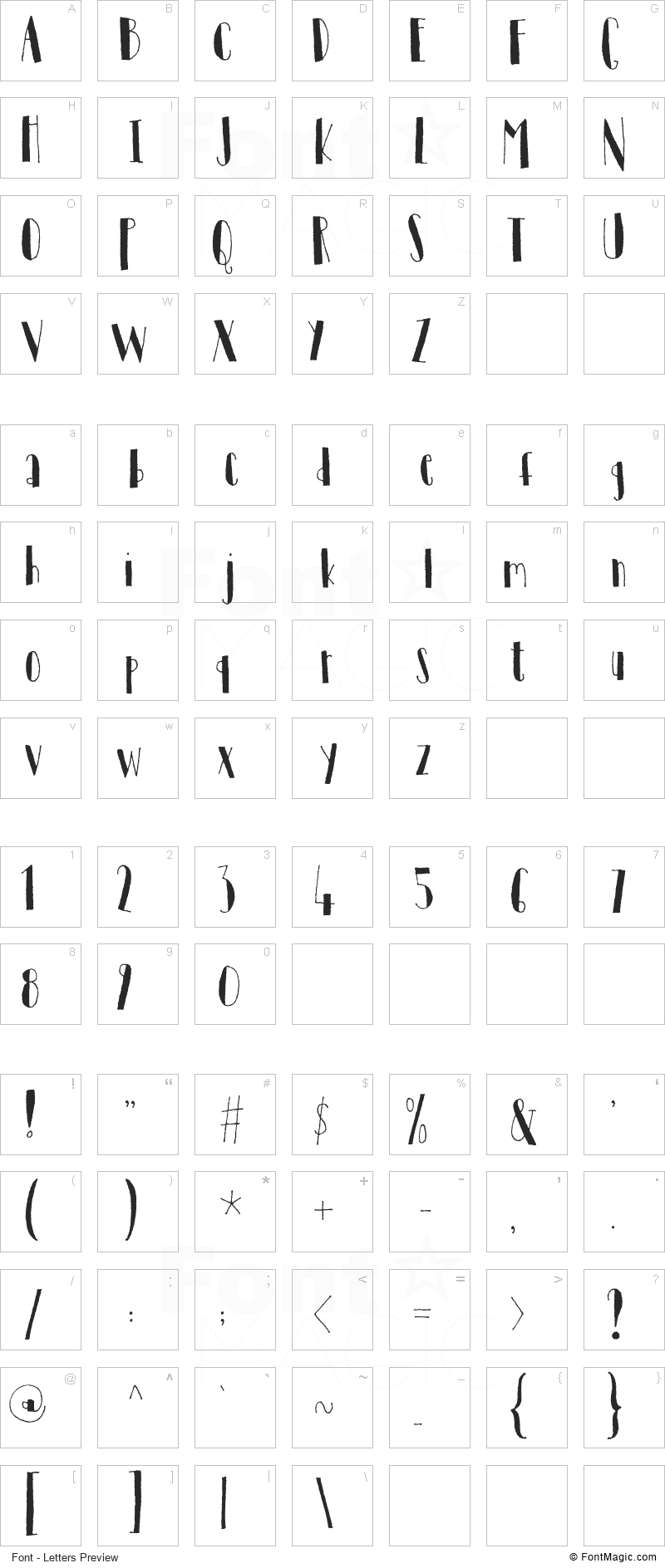 Tantamount Font - All Latters Preview Chart