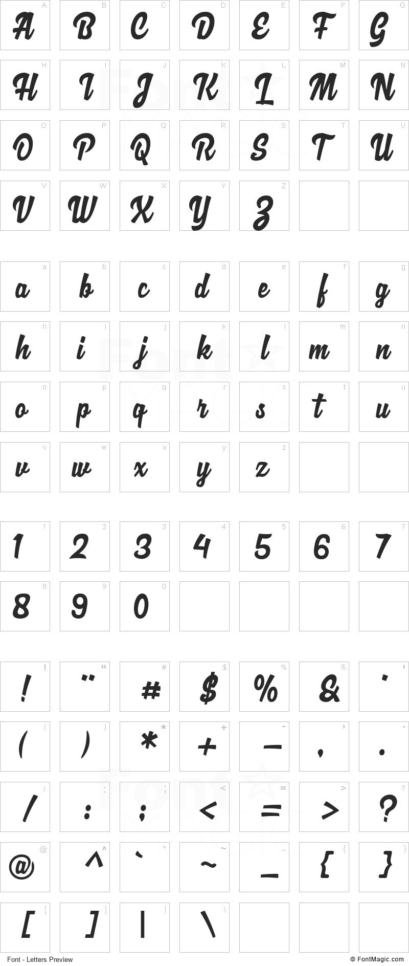 Loguetown Font - All Latters Preview Chart
