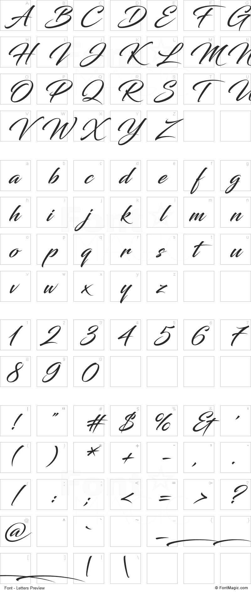 Blacksword Font - All Latters Preview Chart