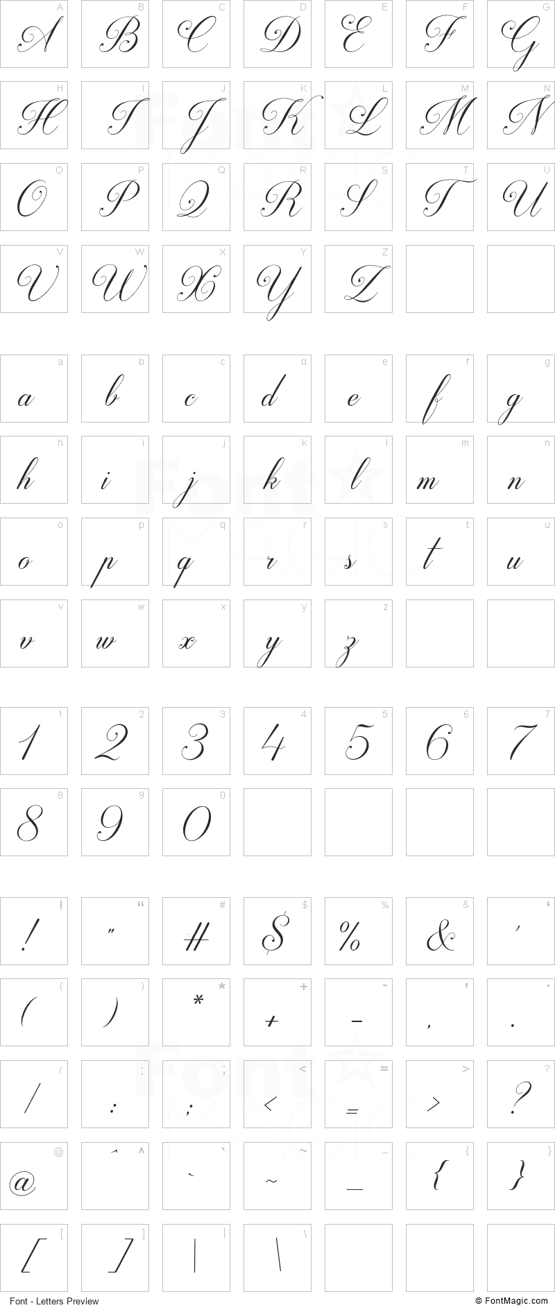 Darleston Font - All Latters Preview Chart