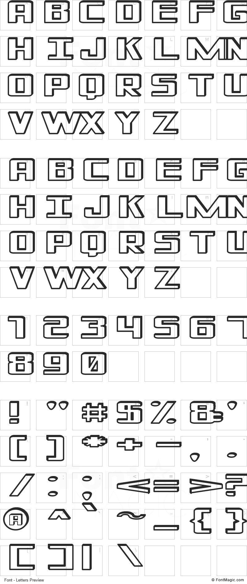 Shadded of South Font - All Latters Preview Chart