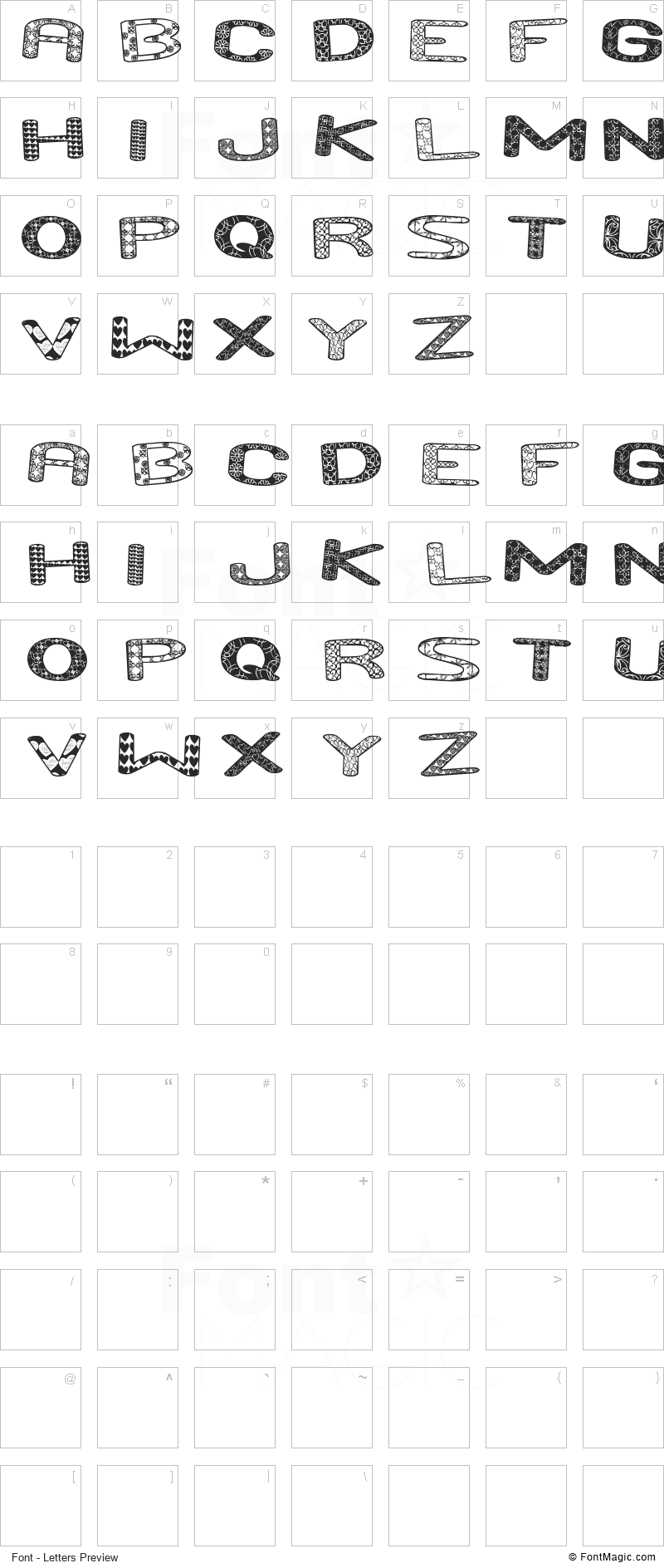 And Run ST Font - All Latters Preview Chart