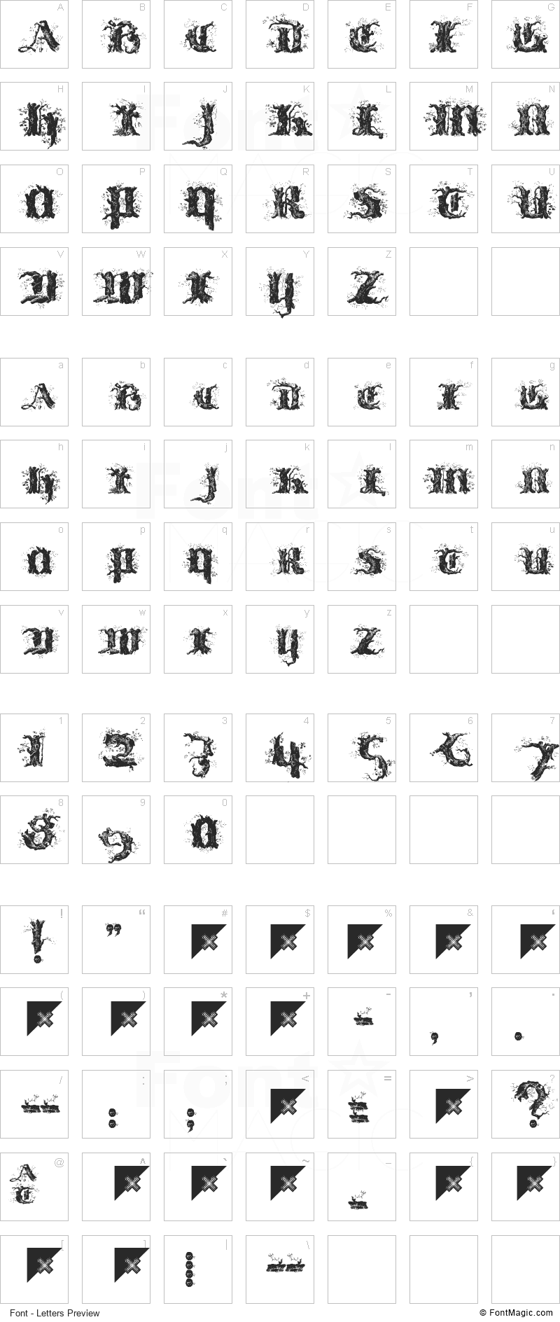 !Limberjack Font - All Latters Preview Chart