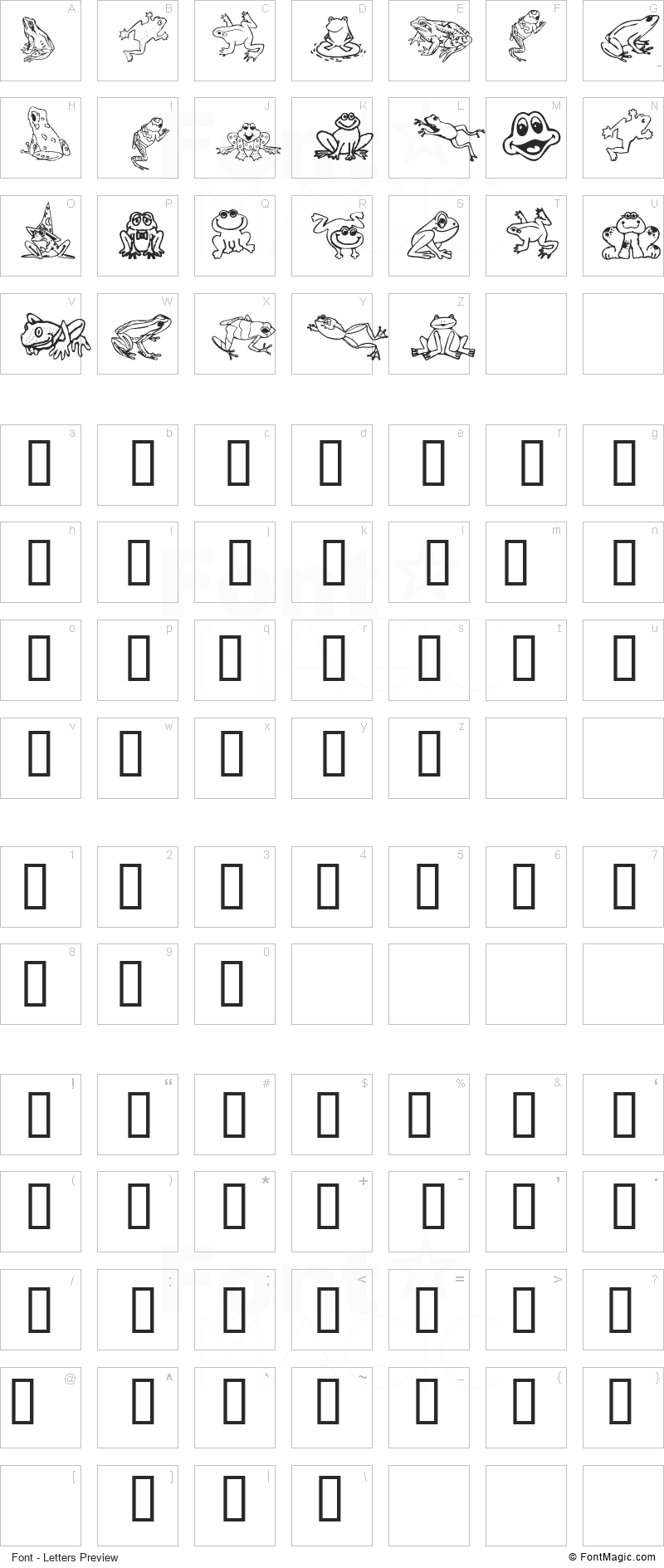 Amphibia Font - All Latters Preview Chart