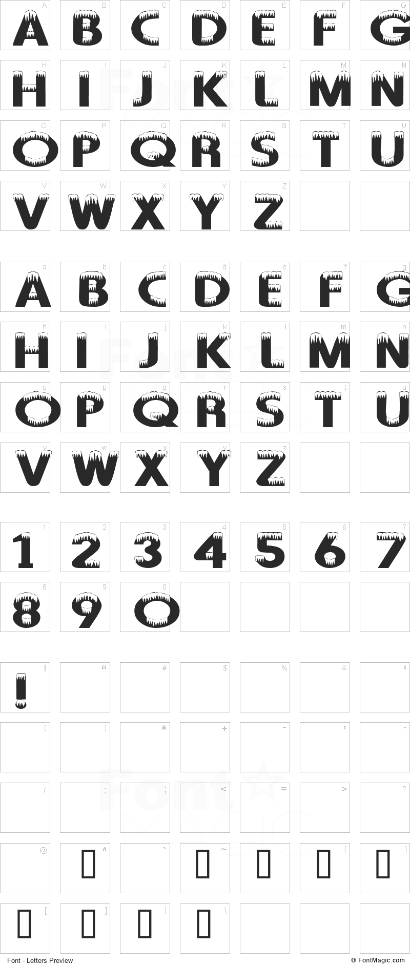 101! Arctic Blast Font - All Latters Preview Chart