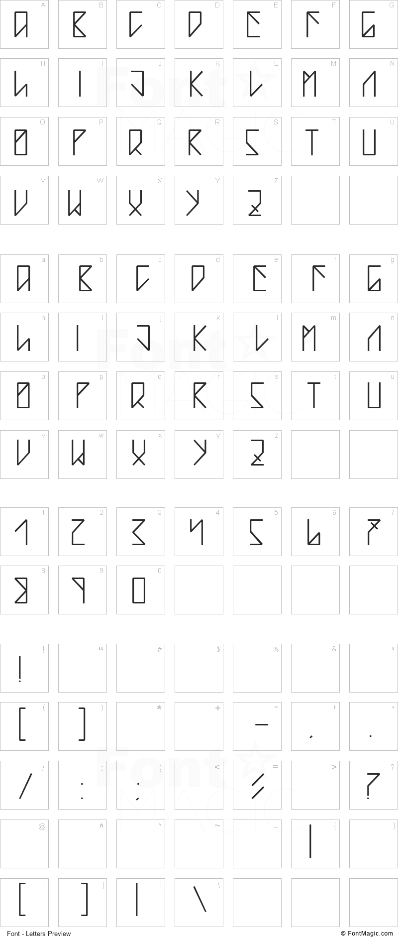 Teardrop Font - All Latters Preview Chart