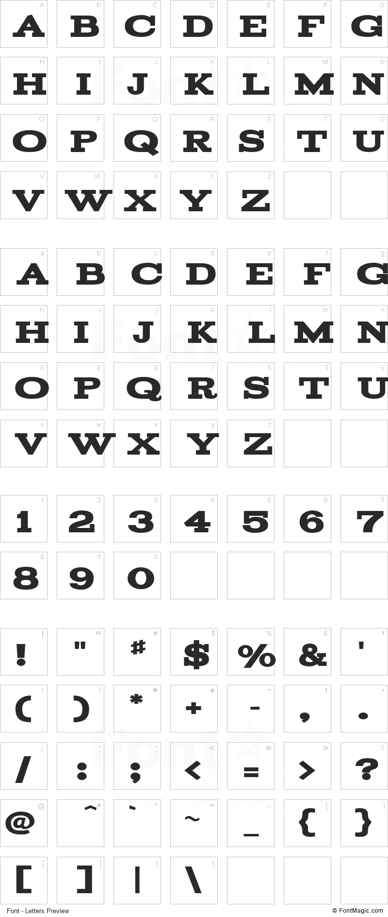 Acknowledgement Font - All Latters Preview Chart