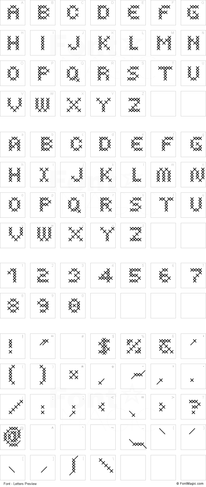 Costura Font - All Latters Preview Chart