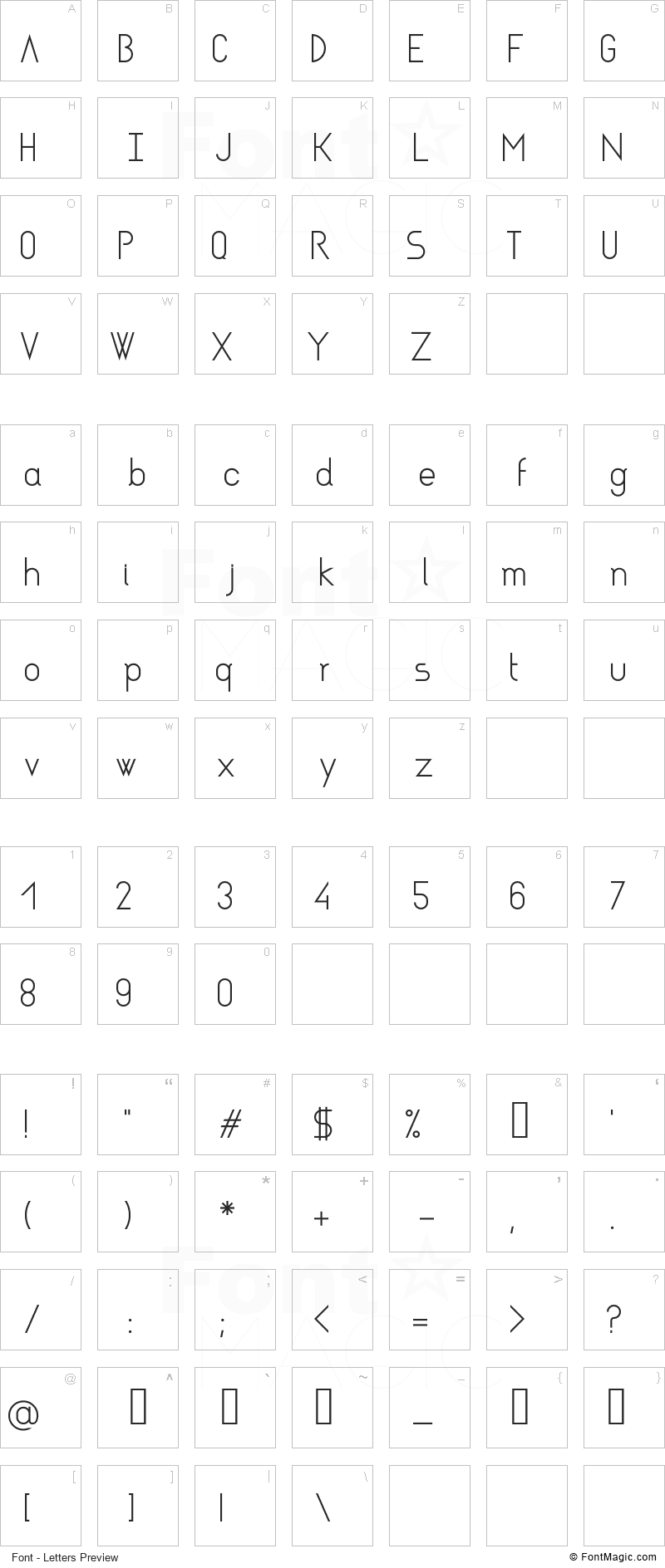 Asgalt Font - All Latters Preview Chart