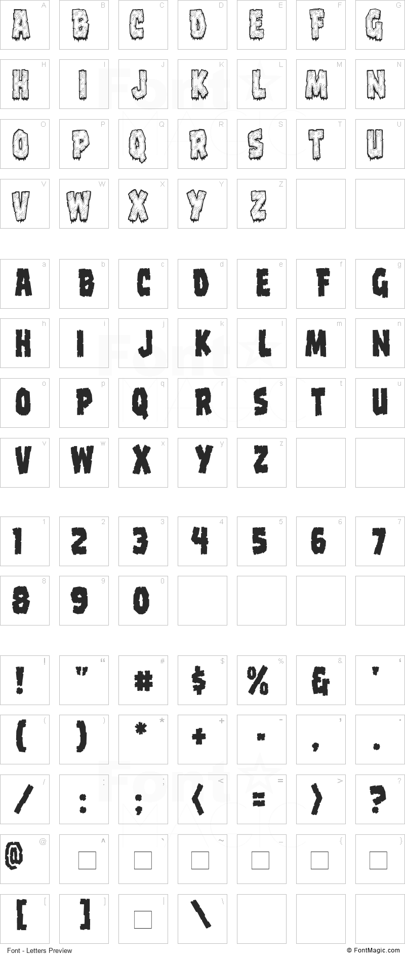 CCFrostbite Font - All Latters Preview Chart