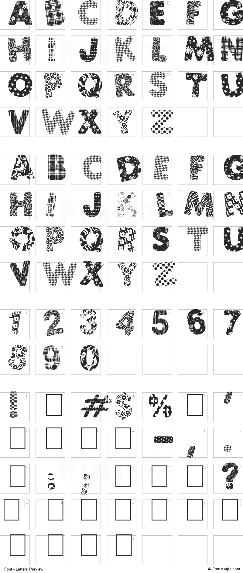 PatchFun Font - All Latters Preview Chart