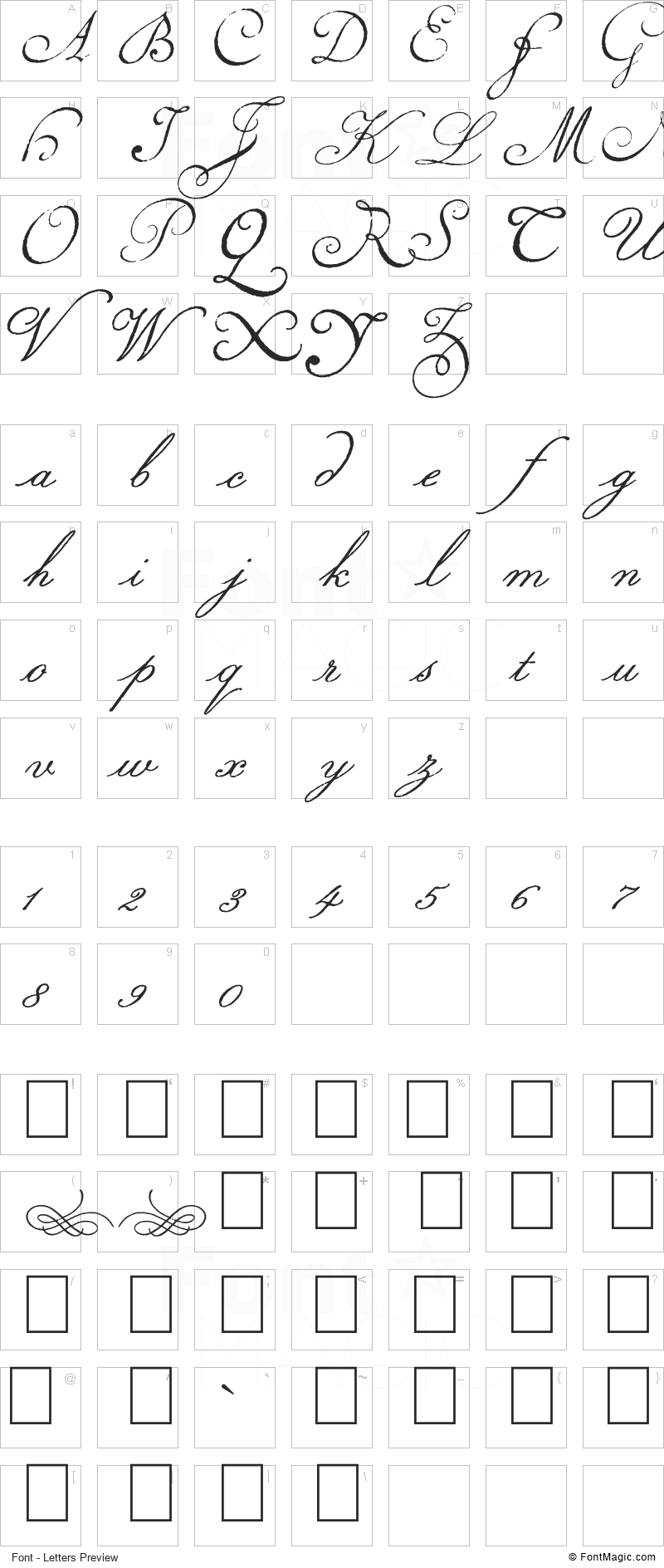 Volutes Font - All Latters Preview Chart