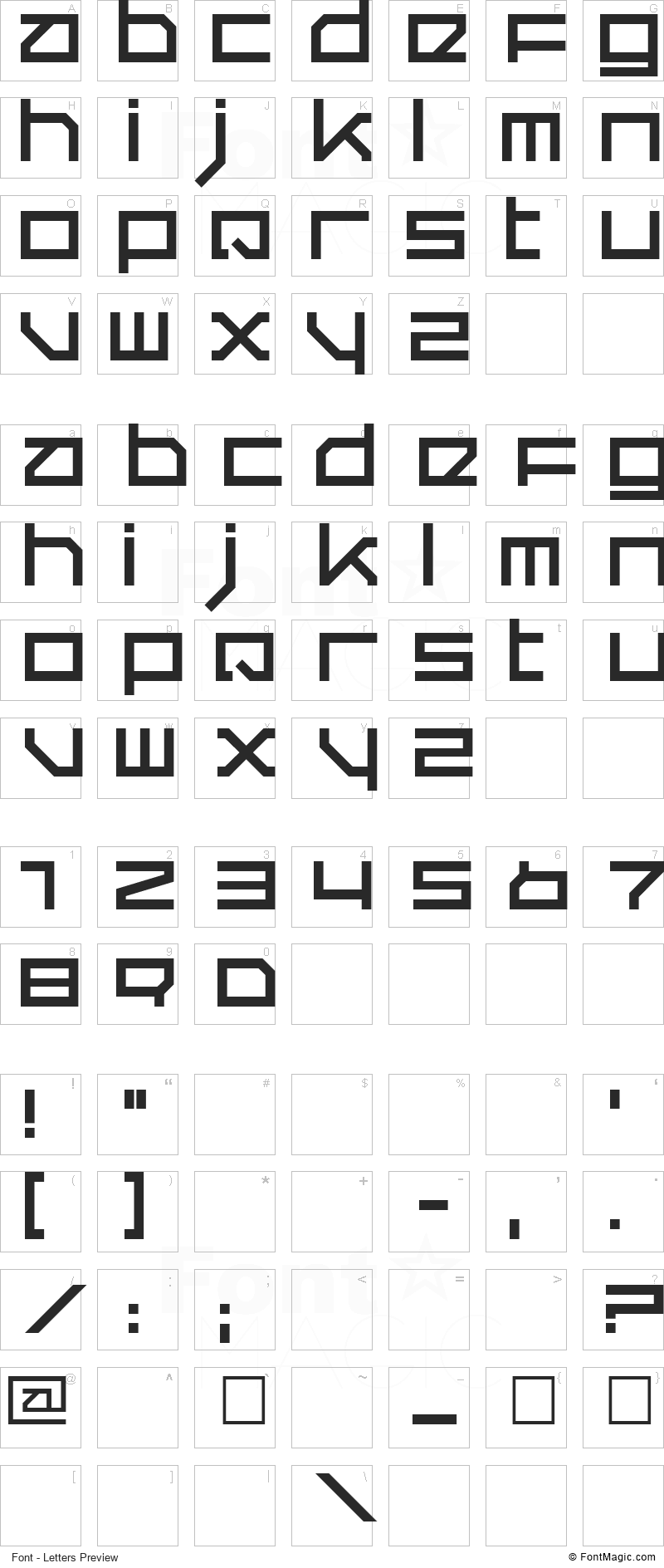 Quer Font - All Latters Preview Chart