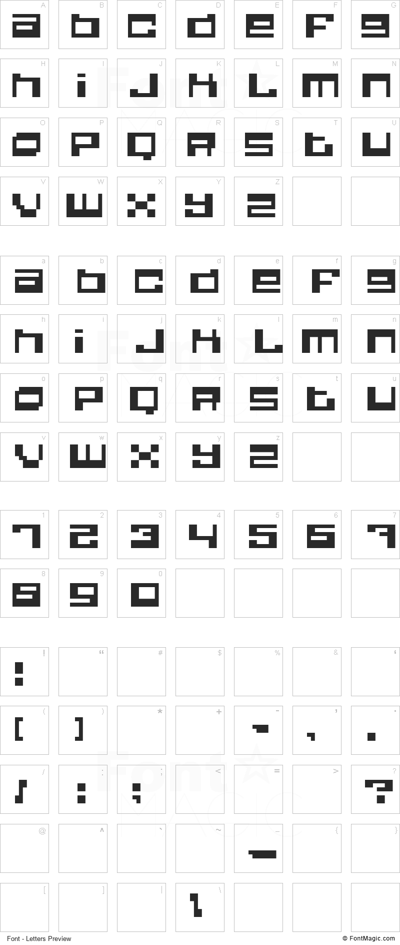 Quadrron Font - All Latters Preview Chart