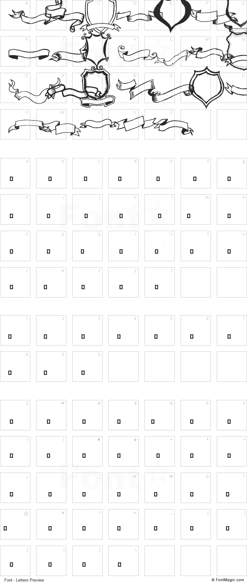 Frames 'n Riboons Font - All Latters Preview Chart