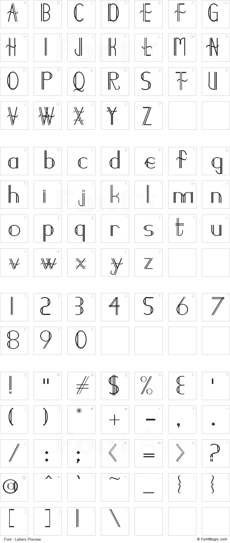 Demodee Font - All Latters Preview Chart