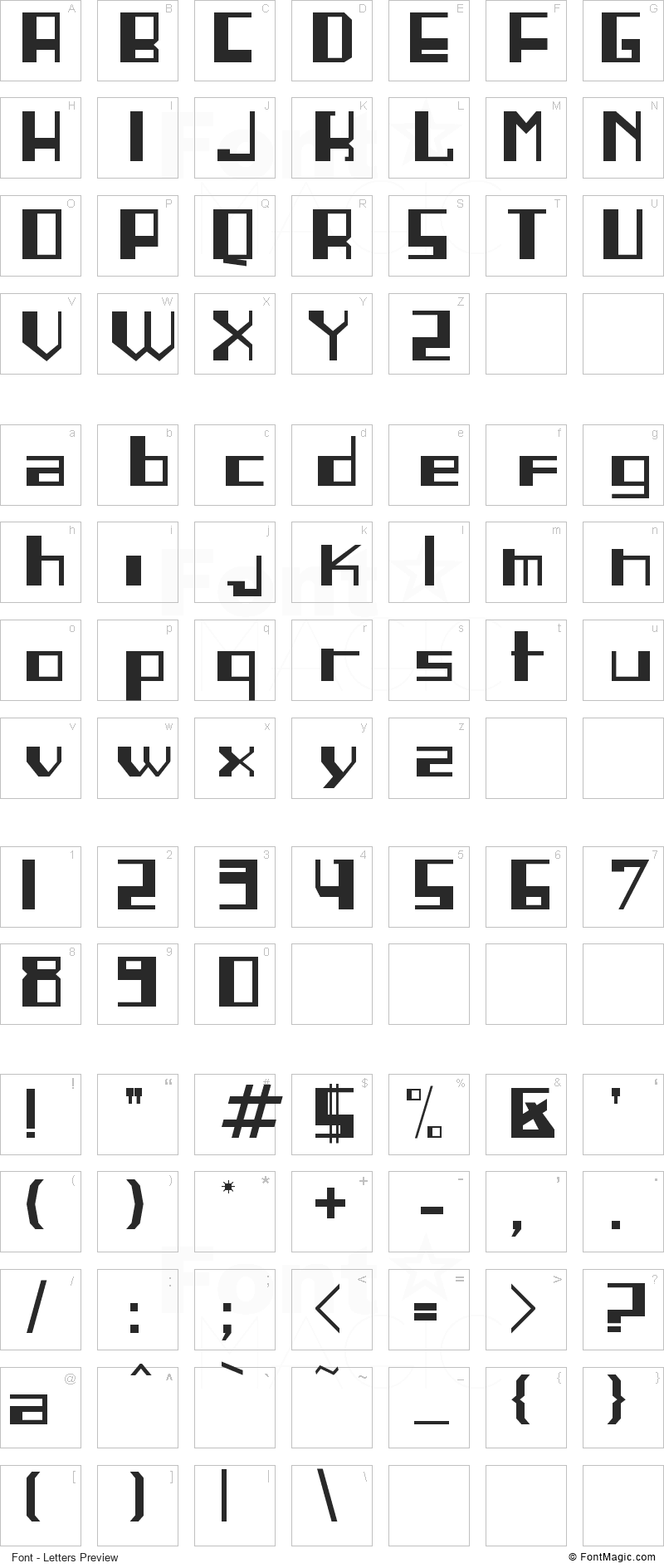 Linea Font - All Latters Preview Chart