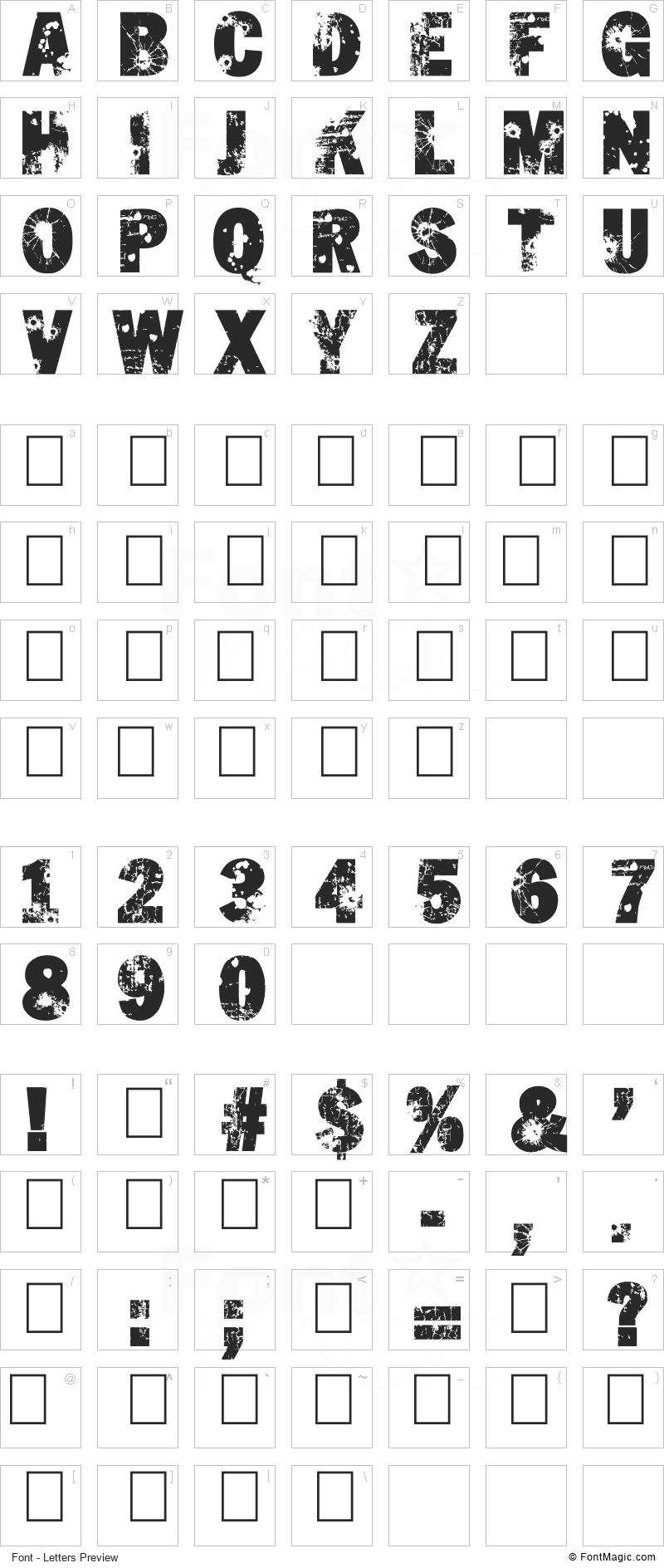 Shut'Em Down Font - All Latters Preview Chart