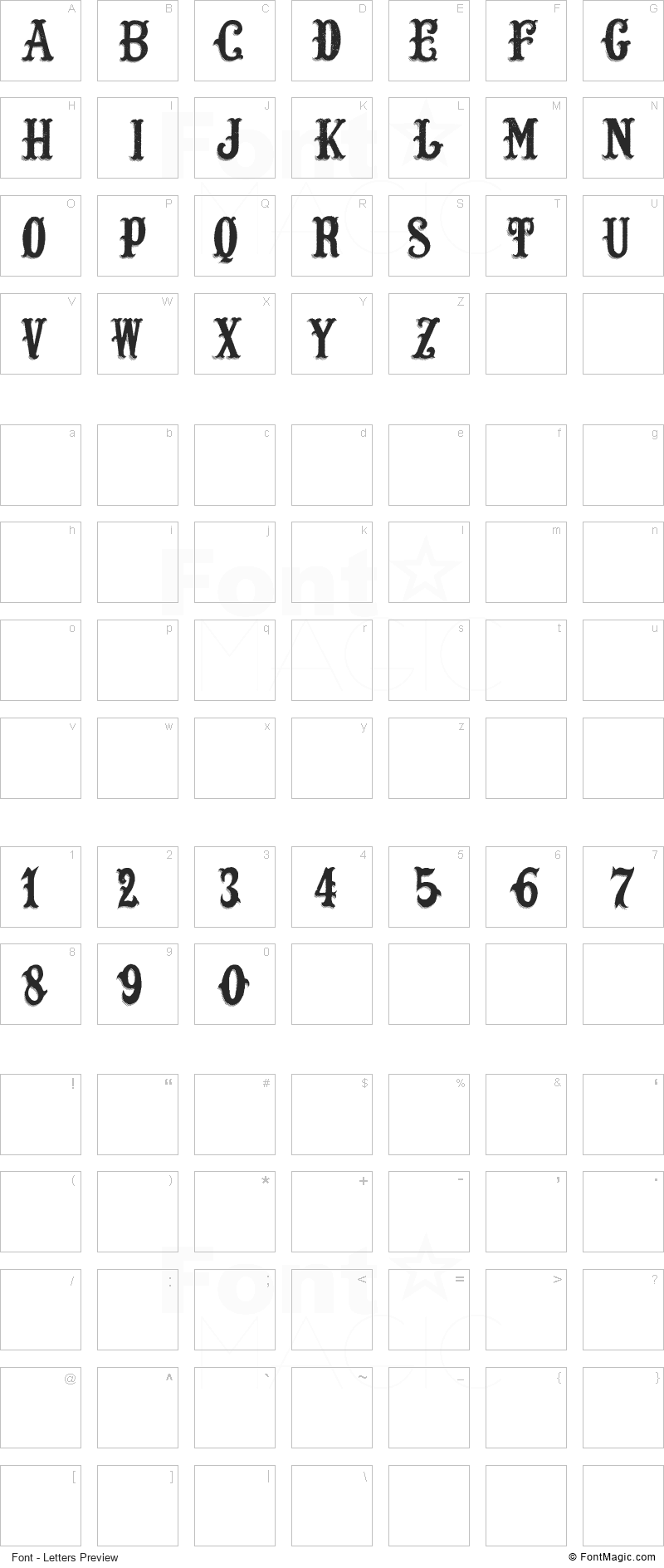 LOST SALOON Font - All Latters Preview Chart