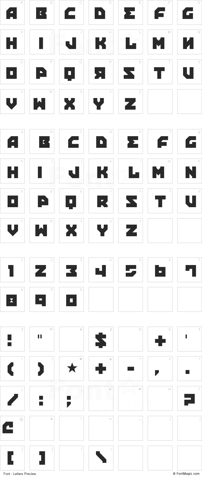 Propaganda Font - All Latters Preview Chart