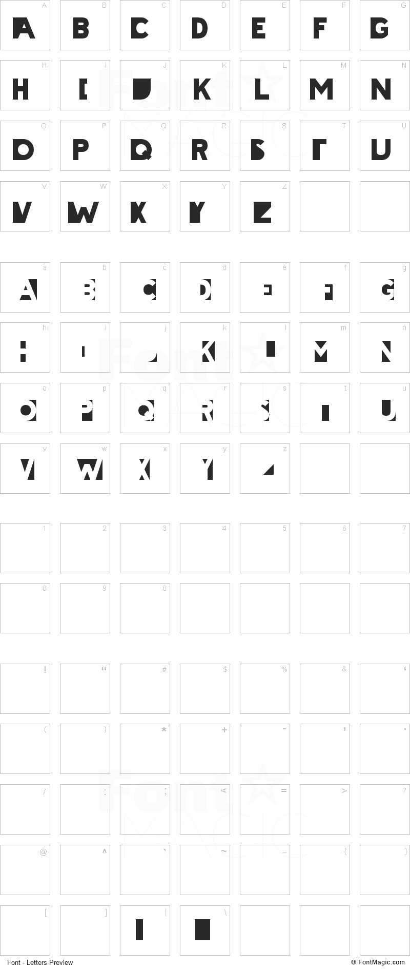 Cheatin Font - All Latters Preview Chart