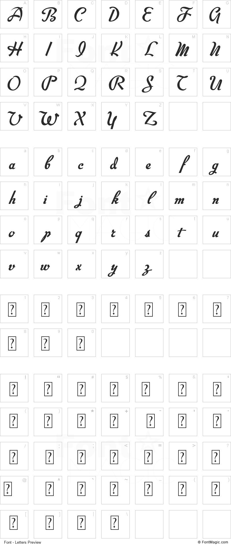 Big Surprise Font - All Latters Preview Chart