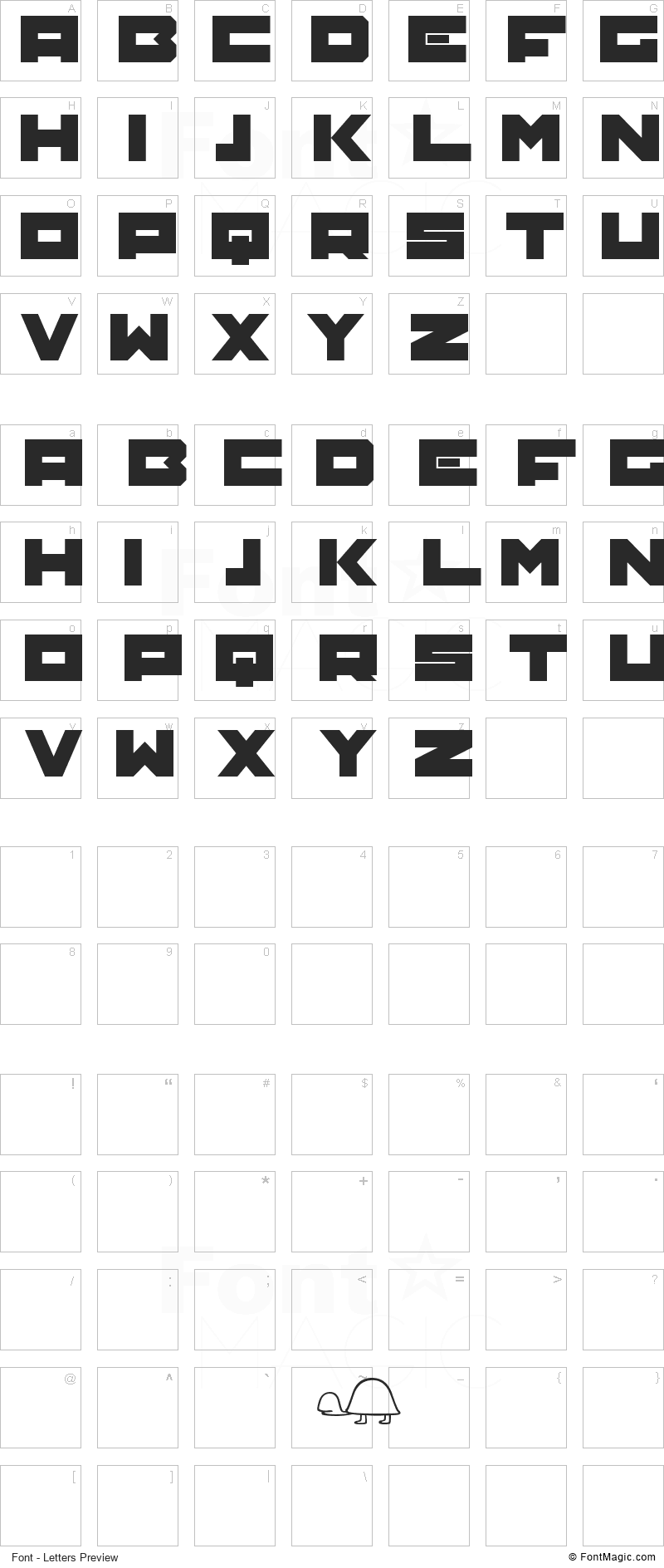 TRTL Font - All Latters Preview Chart