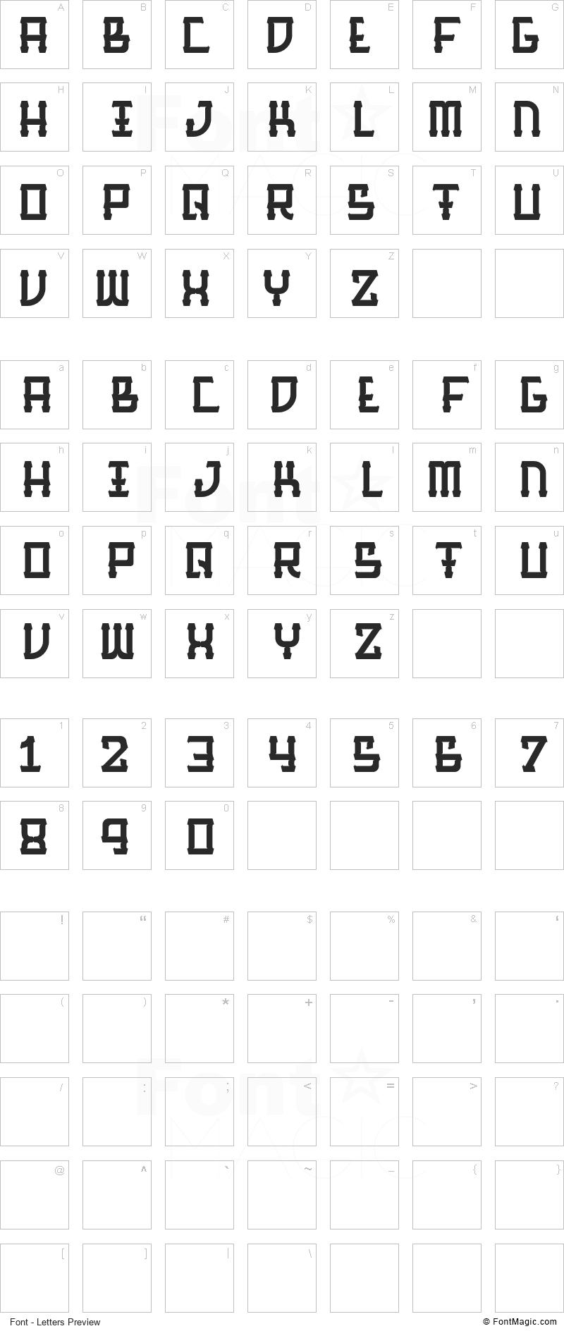 Barque Font - All Latters Preview Chart