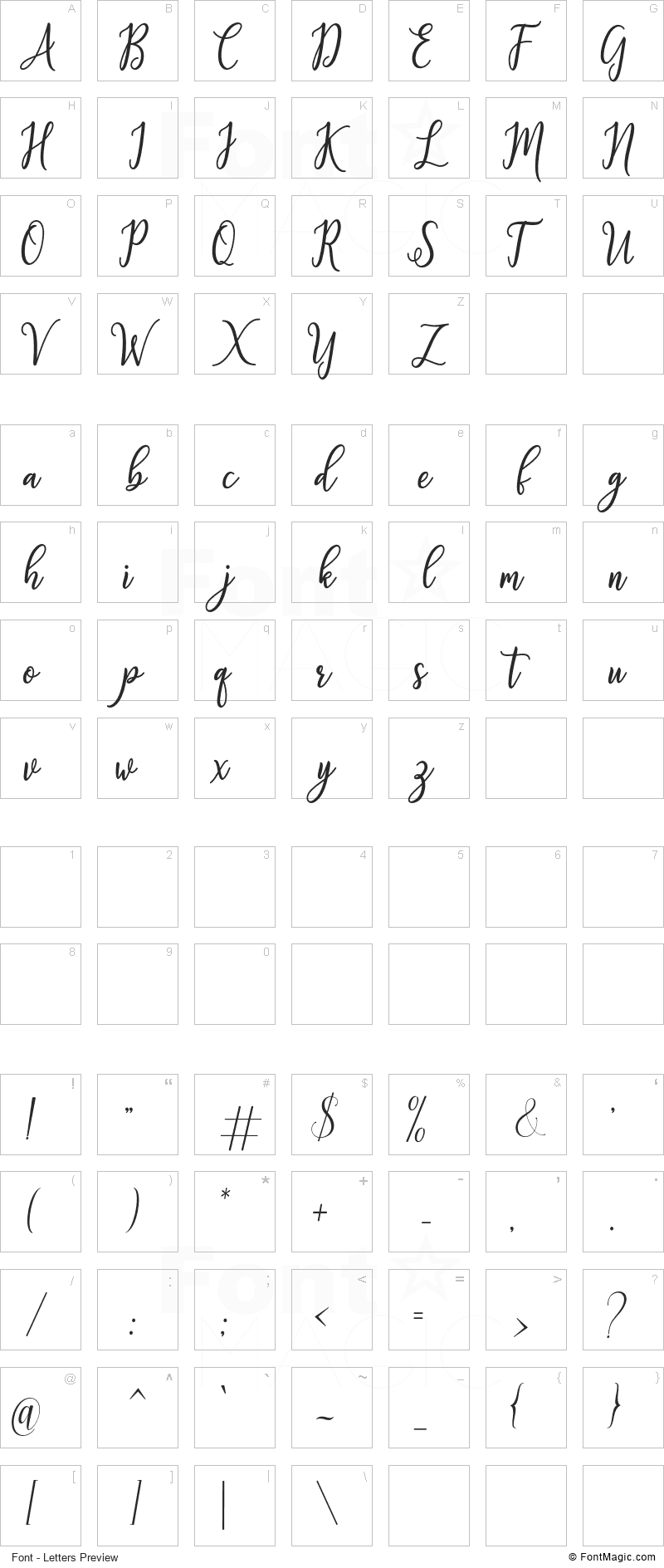 Fabulous Font - All Latters Preview Chart