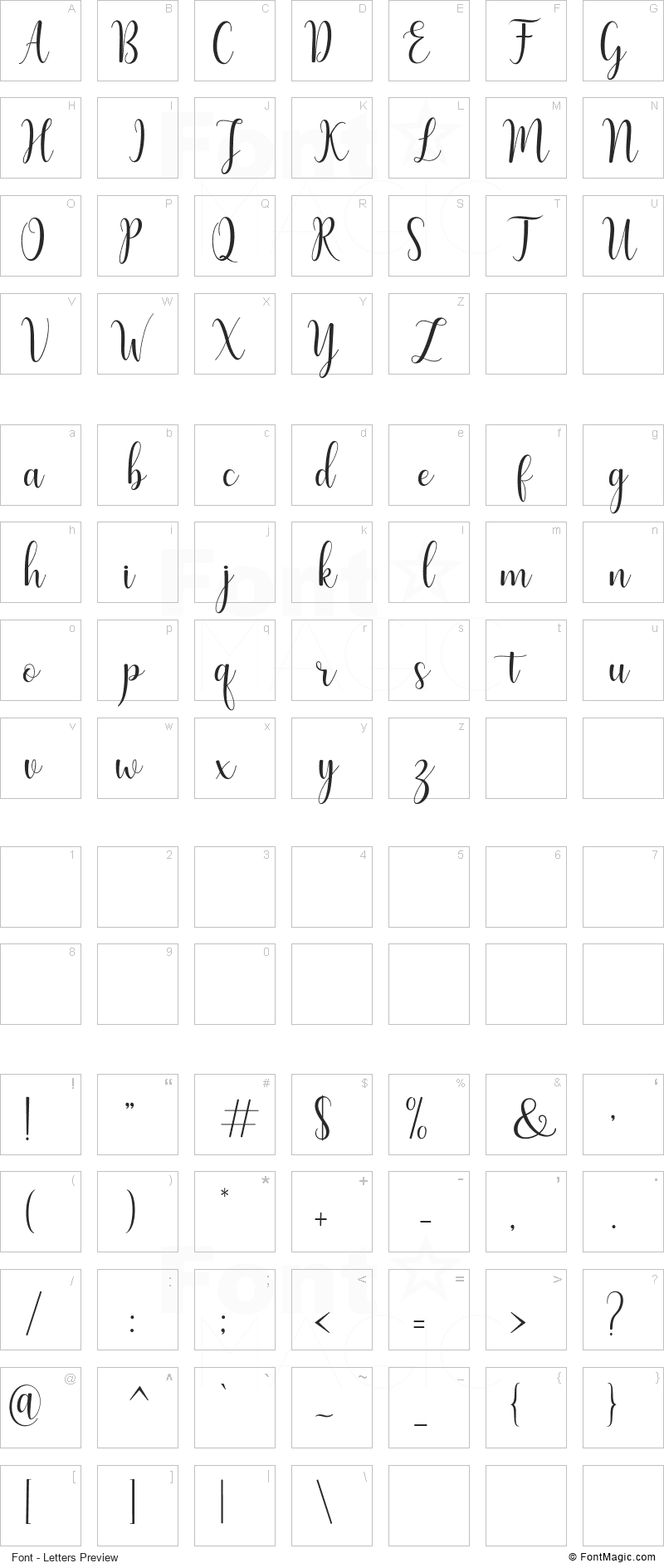 Humble Font - All Latters Preview Chart