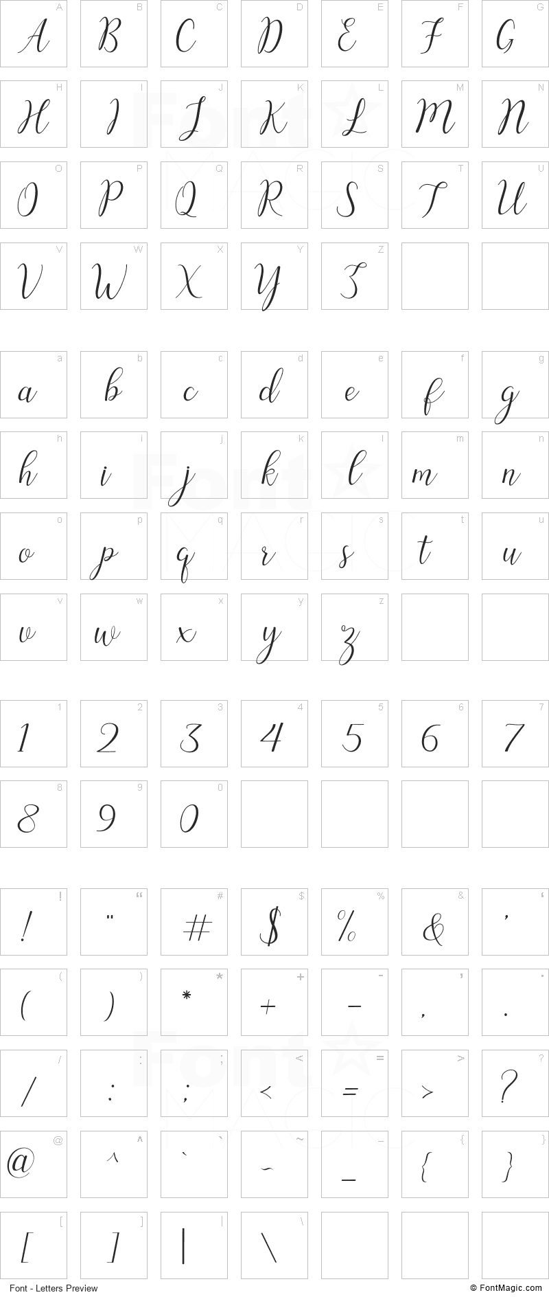 Austina Font - All Latters Preview Chart