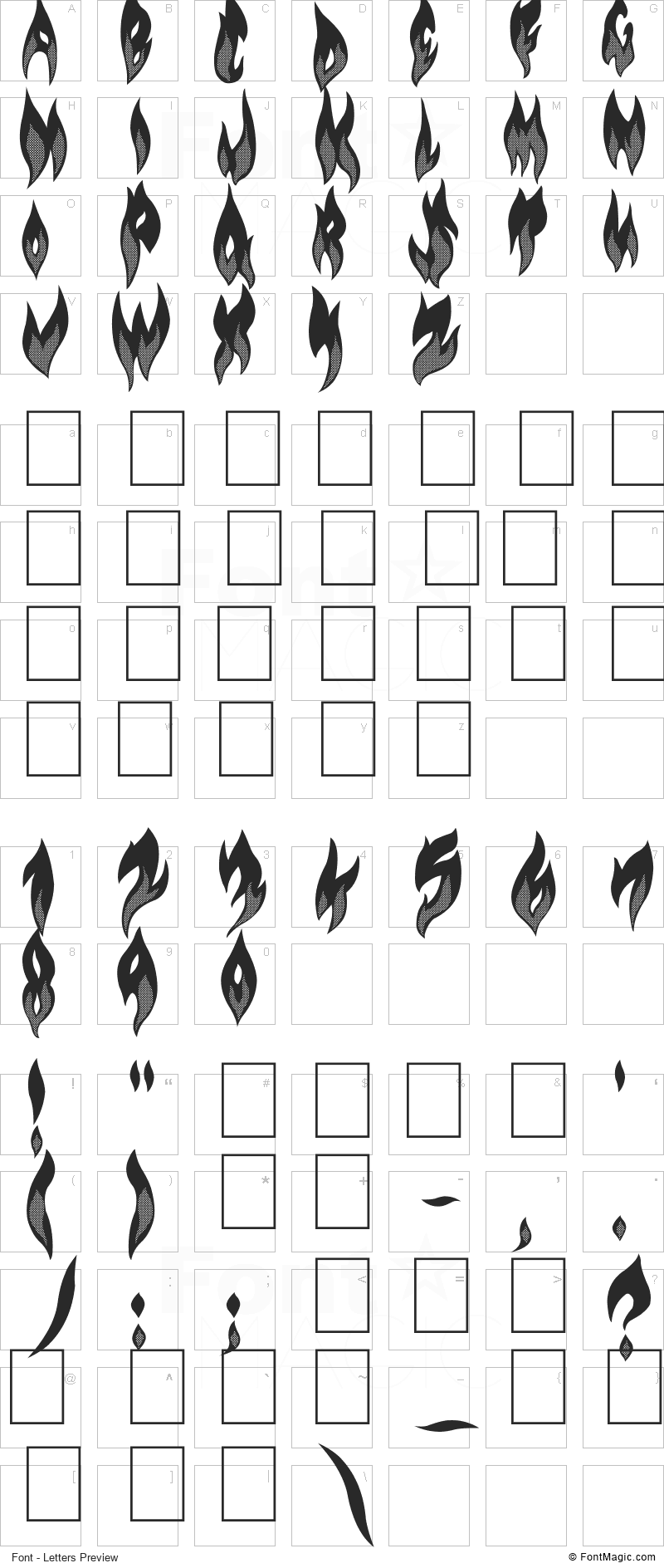 FLAME ON! Font - All Latters Preview Chart