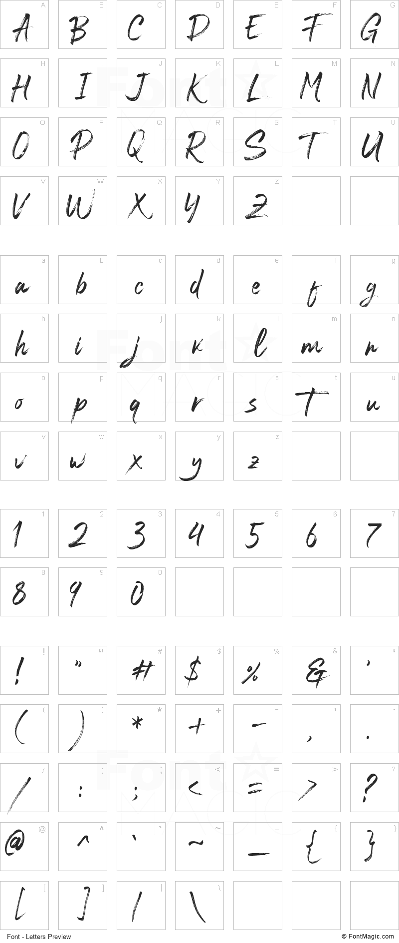Blastimo Font - All Latters Preview Chart