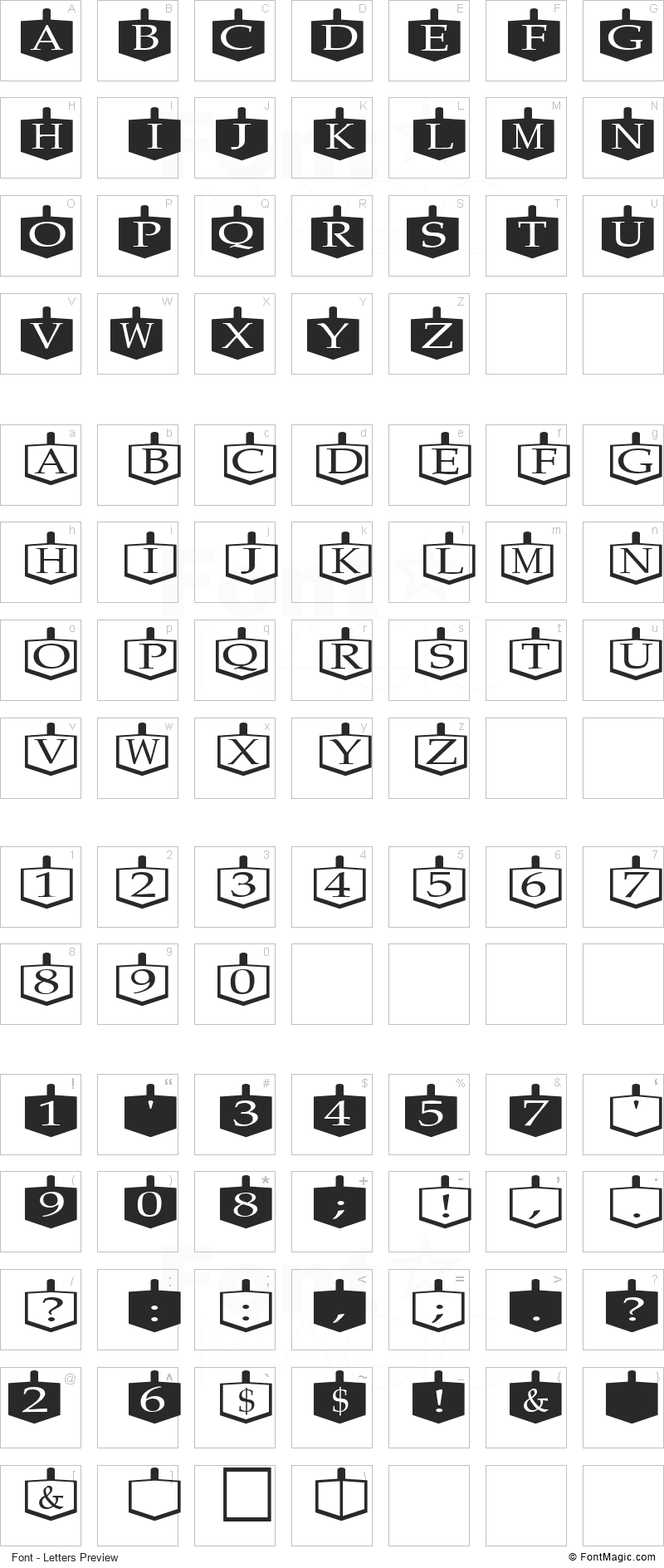 Dreidels Font - All Latters Preview Chart