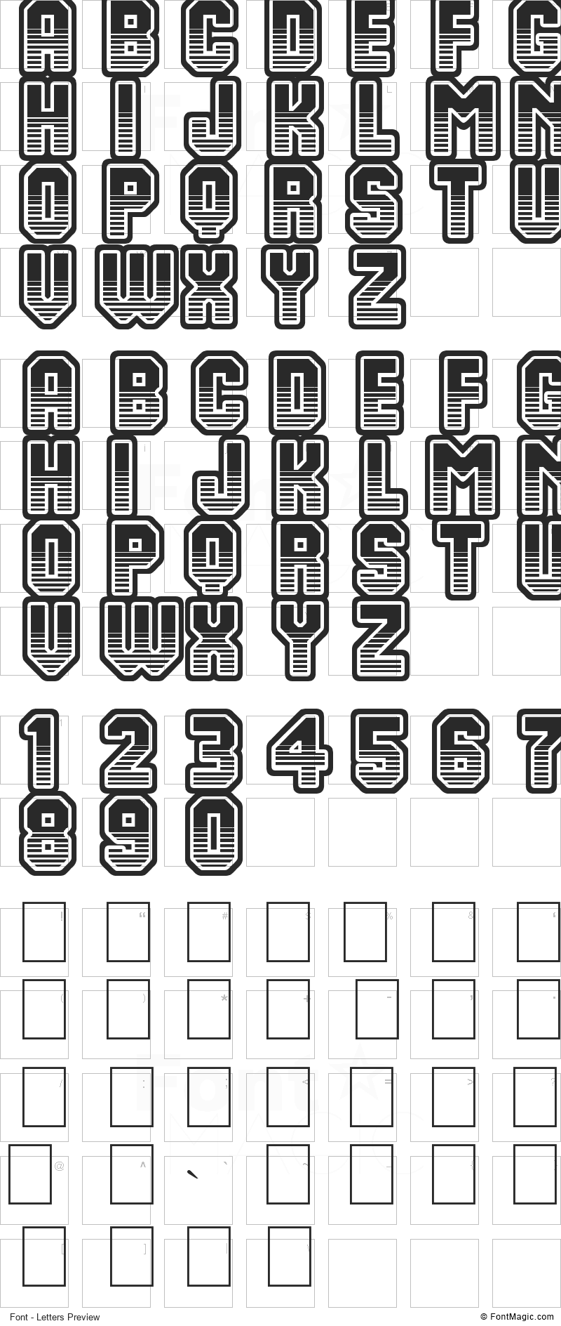 Team 401 Font - All Latters Preview Chart