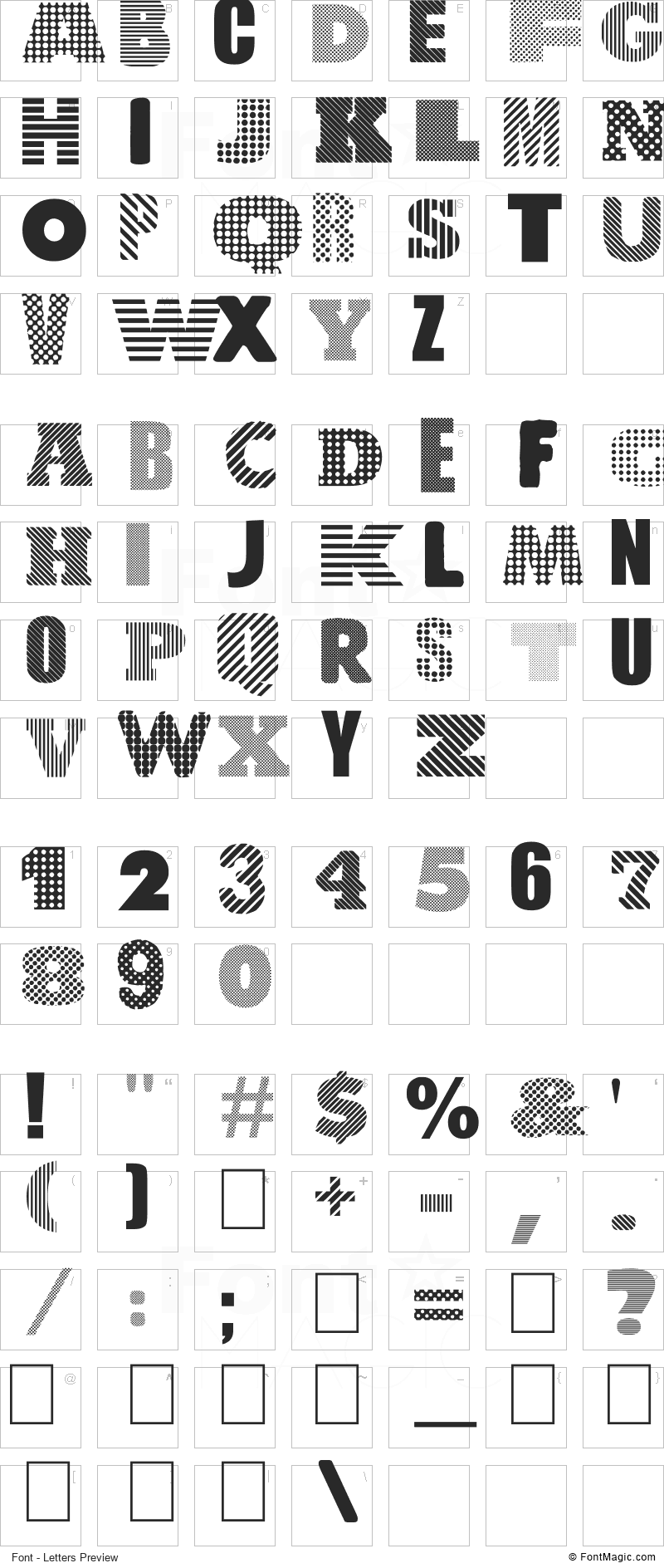 Roundabout Font - All Latters Preview Chart