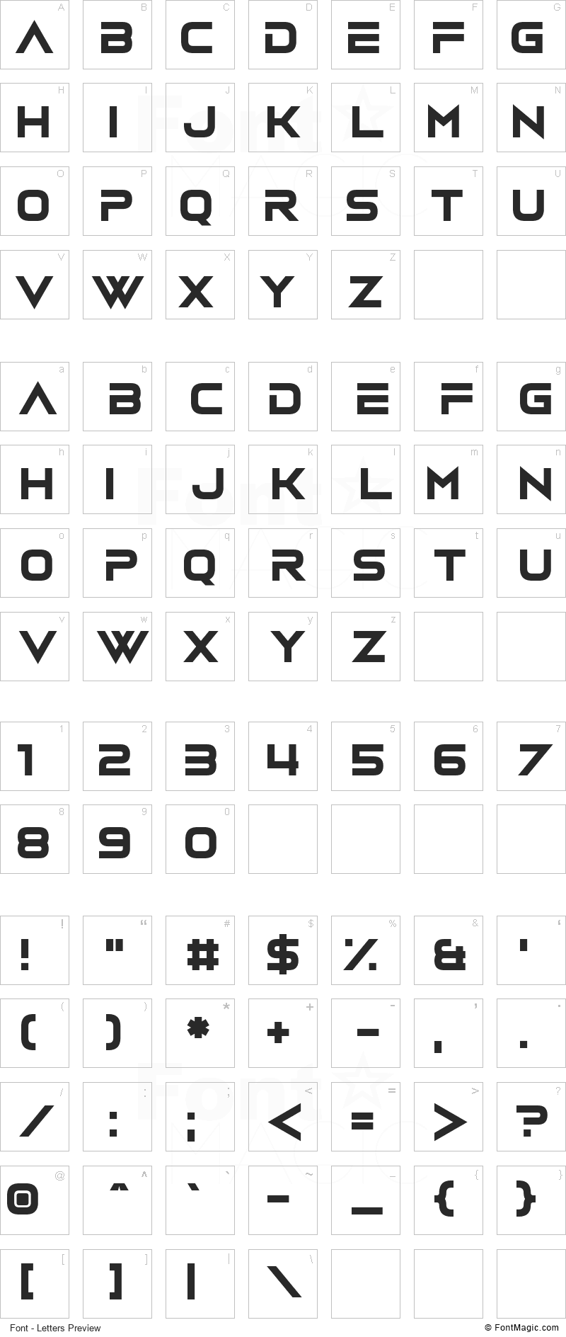 Vudotronic Font - All Latters Preview Chart