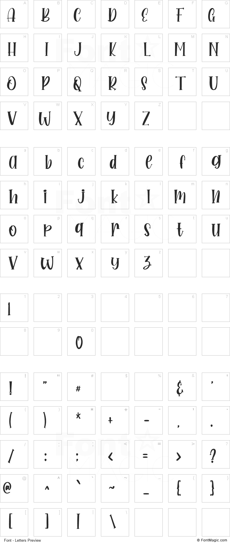 Sweety Font - All Latters Preview Chart