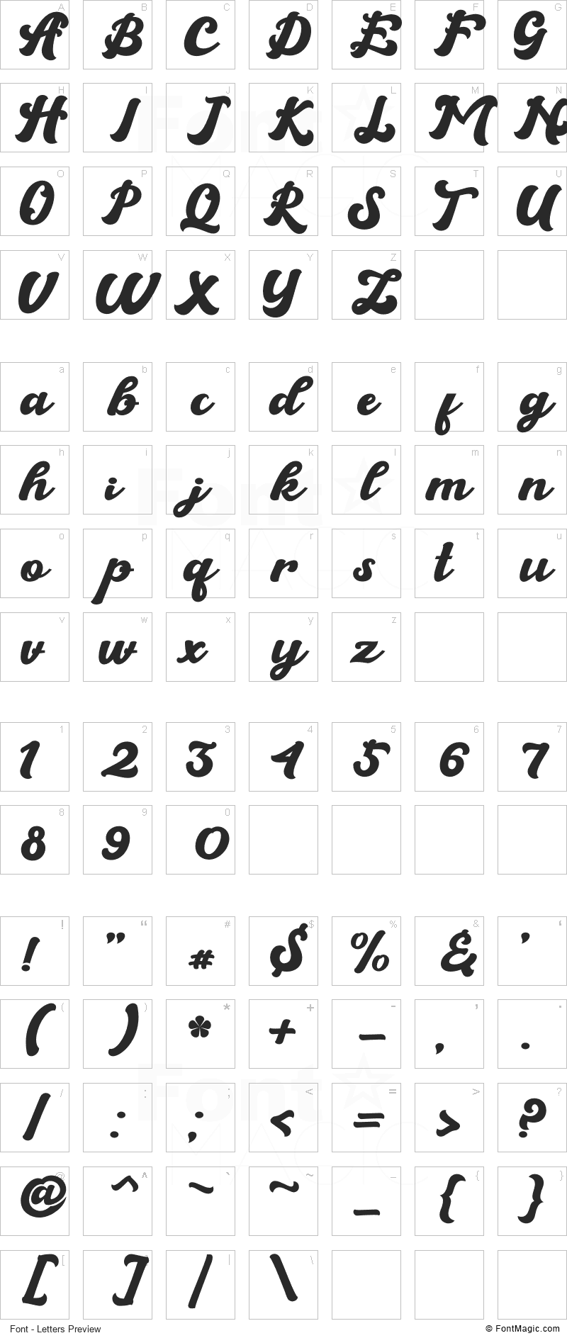 Brandy Font - All Latters Preview Chart