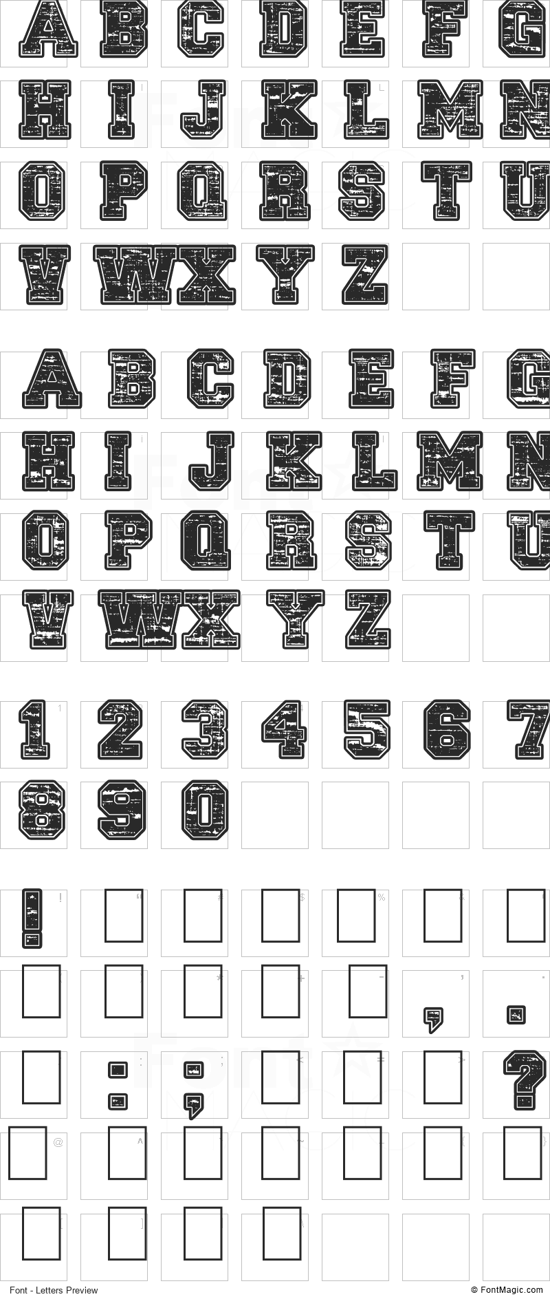Lethal League Font - All Latters Preview Chart