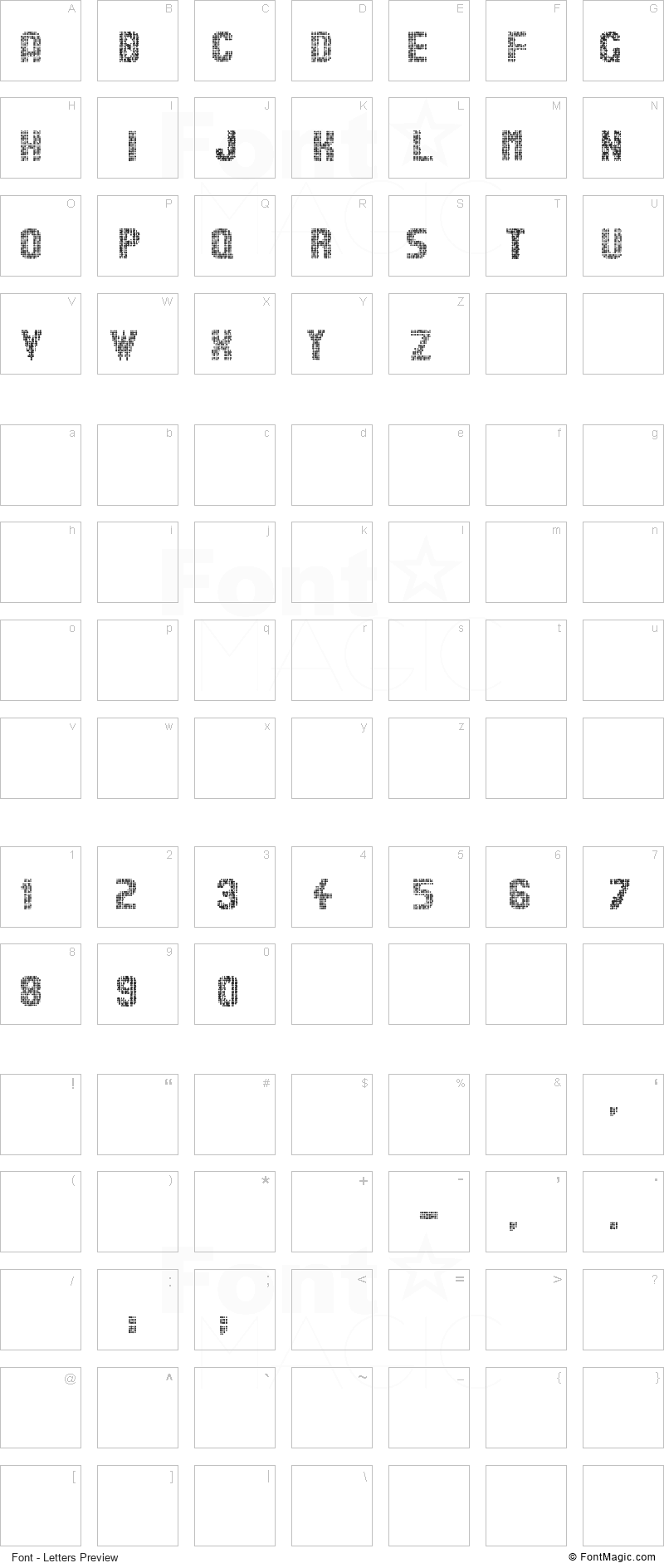 Stardots Font - All Latters Preview Chart