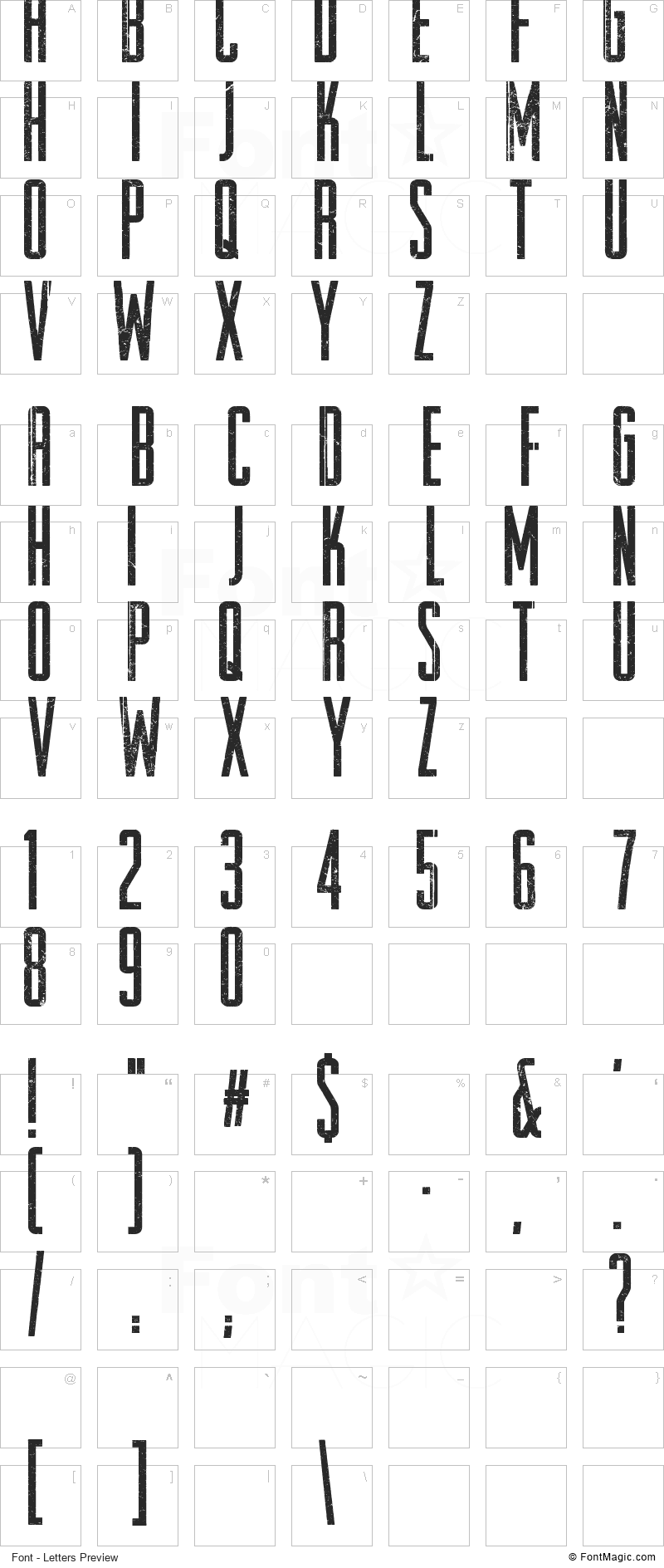 Raleigh Rock Font - All Latters Preview Chart